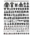 Set 155 icons clothing shoes and accessories