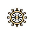 ship steering wheel rudder helm flat color line vector image vector image