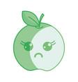 silhouette kawaii cute surprised apple fruit vector image vector image