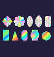 silver shiny foil holographic stickers geometric vector image