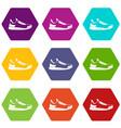 sneaker icon set color hexahedron vector image vector image