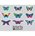 sticker set butterflies decorative silhouettes vector image