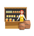street wooden counter with jars of sweet honey and vector image