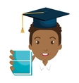 student character with hat graduation and book vector image vector image