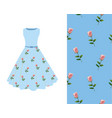 summer dress rose pattern vector image