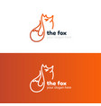 the line fox logo template vector image