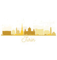 turin italy city skyline silhouette with golden vector image
