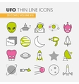 UFO and Space Thin Line Icons Set vector image