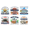 underwater sea and ocean animal icons vector image