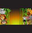 wildlife animals with green bamboo trees cartoon vector image vector image