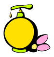 yellow plastic bottle with liquid soap icon vector image vector image