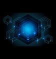 abstract blue hexagon line circuit power techno vector image