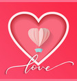 abstract heart cutted from pink paper background vector image
