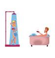 adult woman man washing taking bath vector image vector image