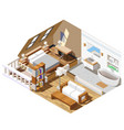 apartment interior isometric composition vector image vector image
