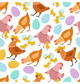 chicken seamless pattern happy easter chick hen vector image