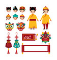 chinese new year traditional folk holiday set vector image
