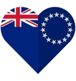 Cook Islands flat heart flag vector image vector image