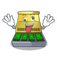 crazy cartoon cash register with a money drawer vector image