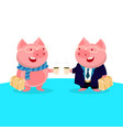 cute pig in glasses with suitcase and suit vector image vector image