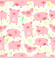 cute seamless pattern with heerful little fun pigs vector image