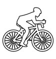 cyclist on bike silhouette icon black color flat vector image vector image
