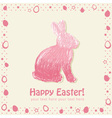 Easter cute scribble bunny silhouette hand drawn