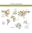 flat world flora and fauna map constructor vector image vector image