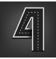 Four number Road font vector image vector image