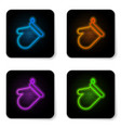 glowing neon oven glove icon isolated on white vector image vector image