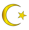 Gold star and crescent icon vector image vector image