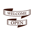 graphic vintage welcome and open on ribbon vector image vector image
