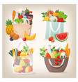 grocery shopping bags filled with food vector image vector image
