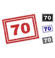 grunge 70 scratched rectangle stamp seals vector image vector image