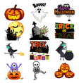 halloween trick or treat icons vector image vector image