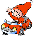 Hand-drawn of an Happy Christmas Elf driving in a vector image vector image