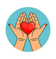 hands and heart icon vector image vector image