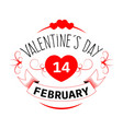 happy valentines in heart bright festive vector image