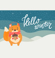 hello winter greeting card cute squirrel and acorn vector image