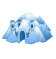 ice castle in mountains vector image vector image