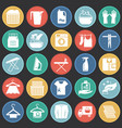 laundry icons set on color circles black vector image