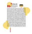 letter maze b this worksheet helps kids recognize vector image