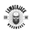 lumberjack emblem with bearded skull and rays vector image vector image