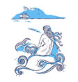mermaid sitting on a rock watching the ship vector image