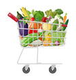 metal shopping cart full of vegetables vector image vector image