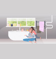 mother with daughter bathing little son happy vector image