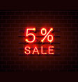 neon 5 sale text banner night sign vector image vector image