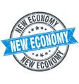 new economy round grunge ribbon stamp vector image vector image