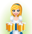 Oktoberfest cartoon girl with beer vector image vector image