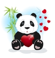 Panda keeps the heart vector image
